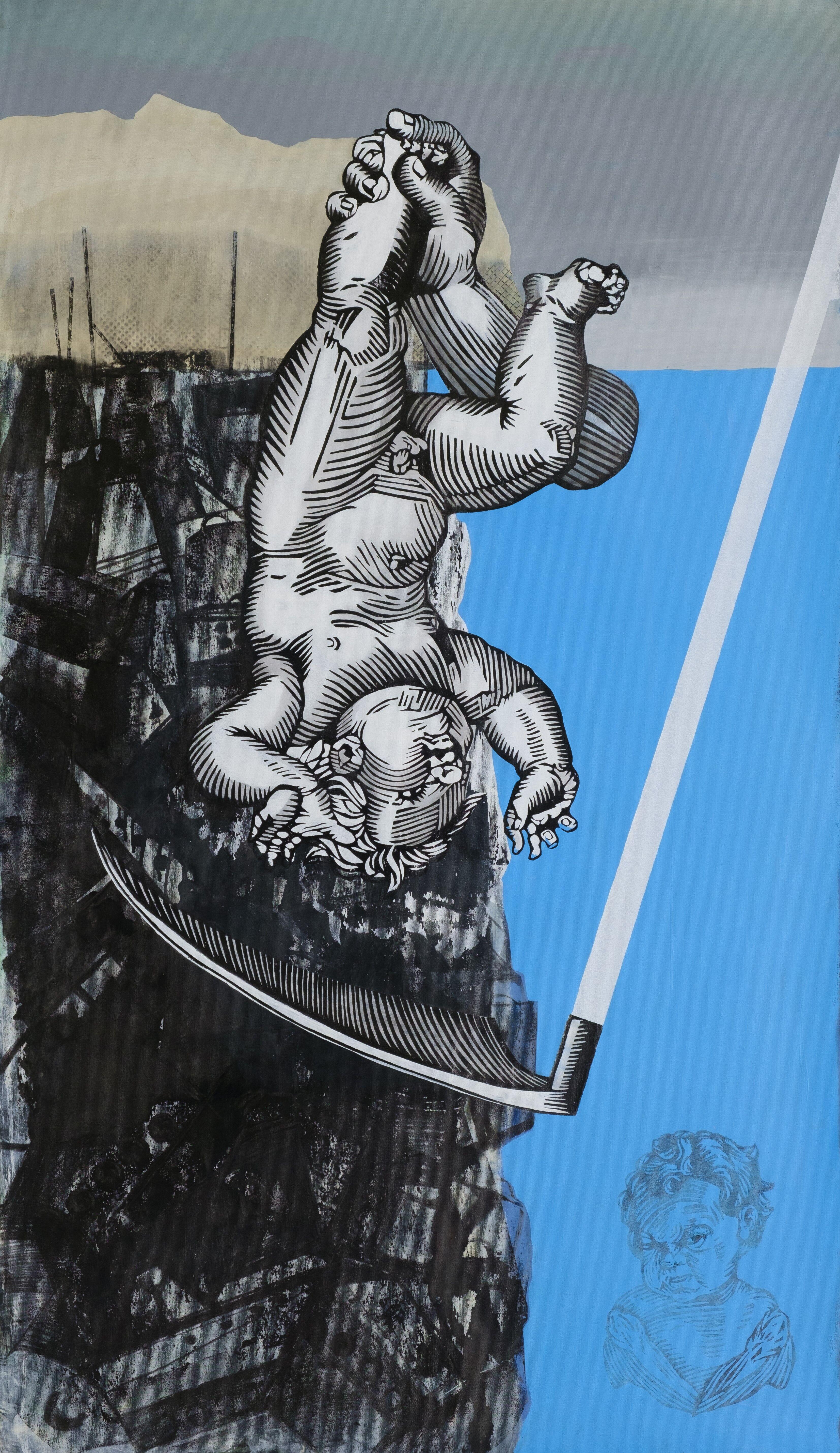 Альбіна Ялоза<br> Занурення Ахілла<br> 2020, полотно, лінорит, акрил