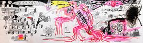 Голем, фрагмент, 2013, папір, туш, акрил, олівці, маркер