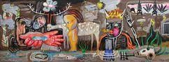 Жива вода, диптих, 2012, полотно, акрил, спрей, 150х400