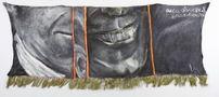 Риси обличчя, ІІ, Посмішка як особливий порух мязів, 2009, тонкий плед, олія, 63х197