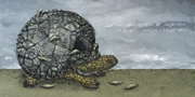 Чорні черви в черепах через чари черепах, 2011, полотно, акрил, 120х60