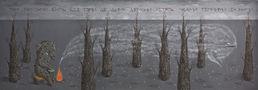 Там там-тами б'ють без тями де диму демони летять лісами темними за нами, 2011, полотно,акрил,180х60
