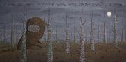 У хащі де хвощі й плющі щось хиже пащею блищить з кущів, 2011, полотно, акрил,120х60
