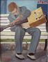 Роман Дубровський, Втомлений гитарист, 2010, картон, олія, оформлено в раму, 49х39